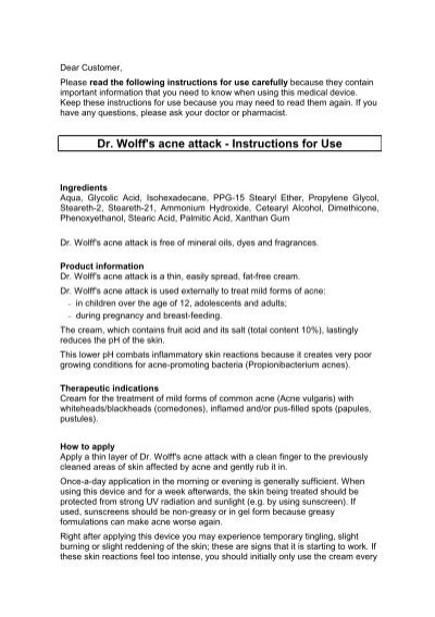 Dr Wolffs Acne Attack Instructions For Use Vagisan
