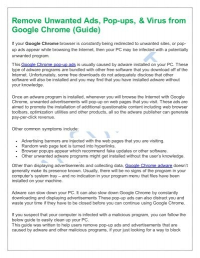 Remove Unwanted Ads Pop Ups Amp Virus From Google Chrome Guide