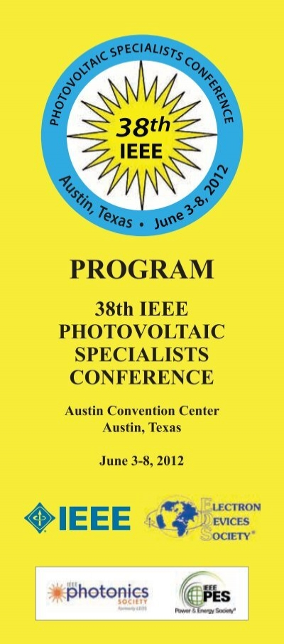 Program 38th 39th Ieee Photovoltaic Specialists Conference