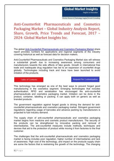 anti counterfeit pharmaceutical and cosmetics packaging United states anti-counterfeit printing ink market report 2018 is a market research united states anti-counterfeit pharmaceuticals and cosmetics packaging market.