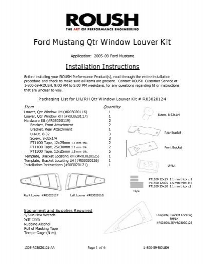 Ford Mustang Qtr Window Louver Kit Roush Performance