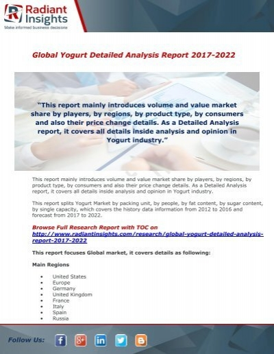 Yogurt Market   ShareGrowth And Analysis Report By Radiant