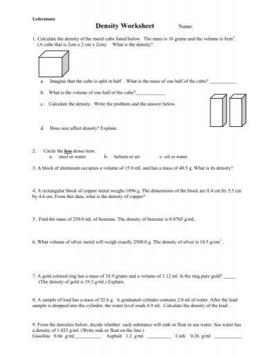 U1 properties and density worksheet