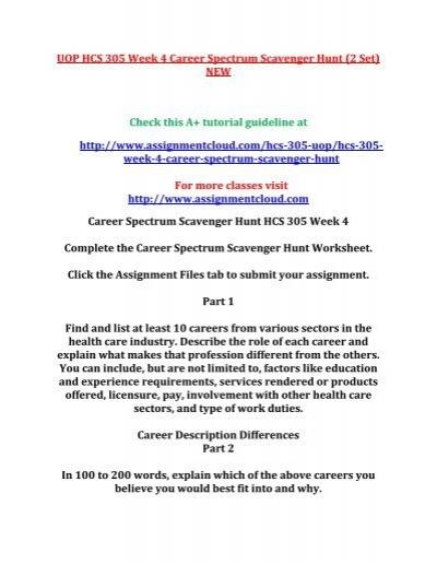 Uop Hcs 305 Week 4 Career Spectrum Scavenger Hunt