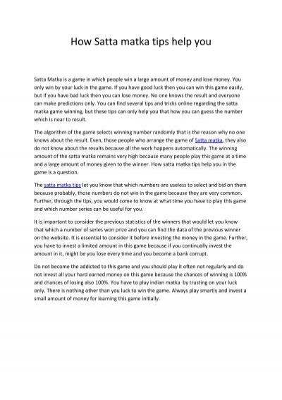 How Satta matka tips help