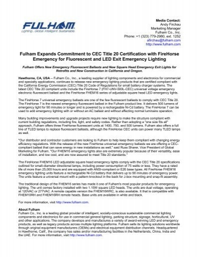 Fulham Expands Commitment to CEC Title 20 Certification with ...