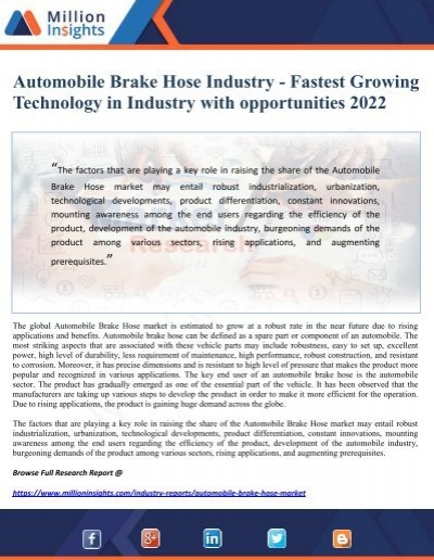 Automobile Brake Hose Industry Fastest Growing Technology In