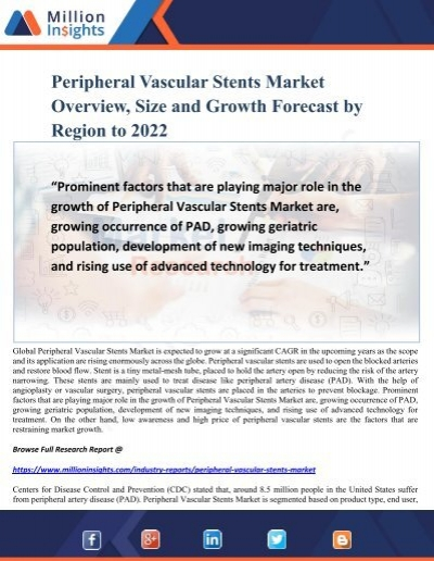 Peripheral Vascular Stents Market Overview, Size and Growth