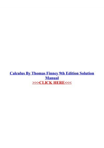 Calculus by thomas finney 9th edition solution manual fandeluxe Images