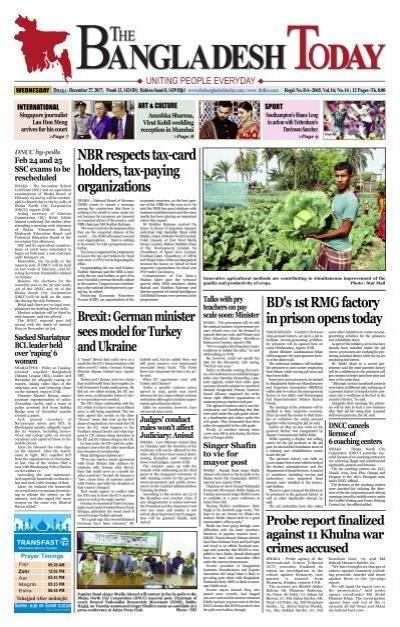 The Bangladesh Today 27 12 2017