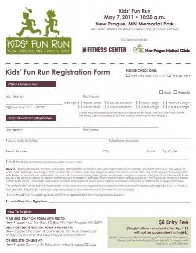 kids fun run registration form new prague half marathon 5k