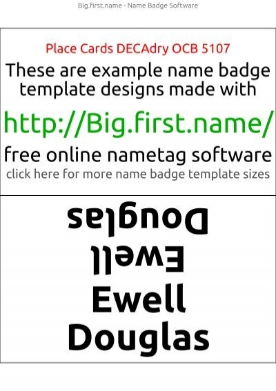 Template Place Cards Decadry Ocb   Name Badge Software
