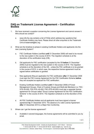 Faq On Trademark License Agreement Scs Global Services