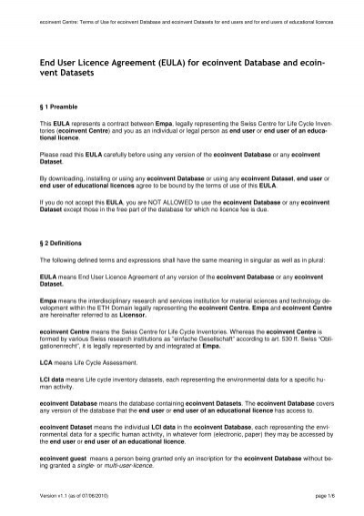 End User Licence Agreement Eula For Ecoinvent Database And