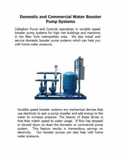 Domestic and Commercial Water Booster Pump Systems