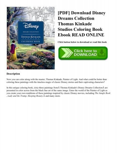 PDF Download Disney Dreams Collection Thomas Kinkade Studios Coloring Book Ebook READ ONLINE