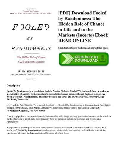 Pdf Download Fooled By Randomness The Hidden Role Of Chance In