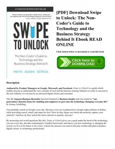 Pdf download swipe to unlock the non coders guide to technology pdf download swipe to unlock the non coders guide to technology and the business strategy behind it ebook read online fandeluxe
