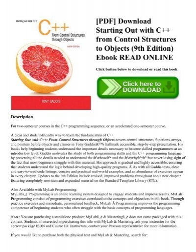 Pdf download starting out with c from control structures to pdf download starting out with c from control structures to objects 9th edition ebook read online fandeluxe Choice Image