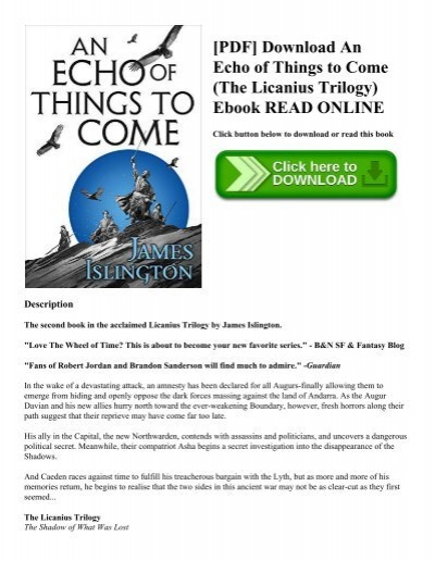 Pdf download an echo of things to come the licanius trilogy ebook pdf download an echo of things to come the licanius trilogy ebook read online fandeluxe Gallery
