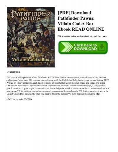 PDF] Download Pathfinder Pawns: Villain Codex Box Ebook READ