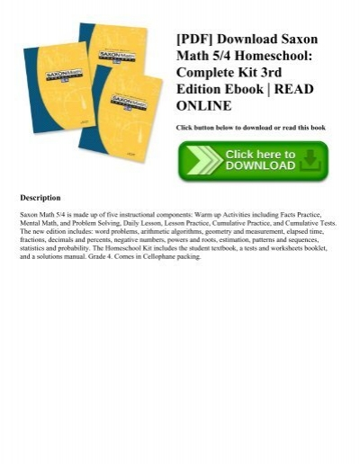 PDF] Download Saxon Math 5/4 Homeschool: Complete Kit 3rd