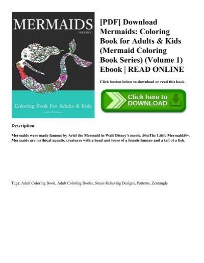 PDF Download Mermaids Coloring Book For Adults Kids Mermaid Series Volume 1 Ebook