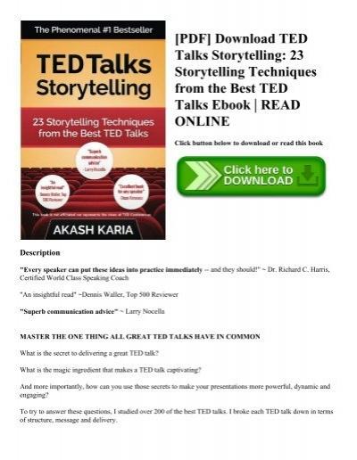 Pdf download ted talks storytelling 23 storytelling techniques pdf download ted talks storytelling 23 storytelling techniques from the best ted talks ebook read online fandeluxe Choice Image