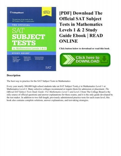 PDF] Download The Official SAT Subject Tests in Mathematics Levels 1