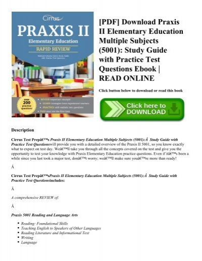 Pdf Download Praxis Ii Elementary Education Multiple Subjects 5001