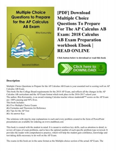 Pdf download multiple choice questions to prepare for the ap pdf download multiple choice questions to prepare for the ap calculus ab exam 2018 calculus ab exam preparation workbook ebook read online fandeluxe