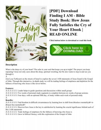 PDF] Download Finding I AM - Bible Study Book How Jesus Fully