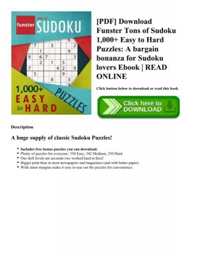pdf download funster tons of sudoku 1 000 easy to hard puzzles a