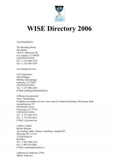WISE Directory 2006 - Wilfried Handl