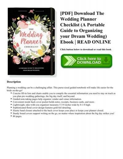 Pdf download the wedding planner checklist a portable guide to pdf download the wedding planner checklist a portable guide to organizing your dream wedding ebook read online fandeluxe Gallery