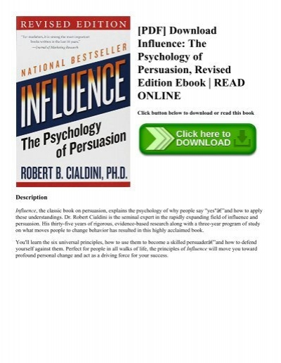 pdf download influence the psychology of persuasion revised edition
