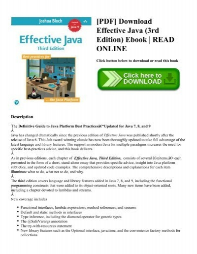 Pdf download effective java 3rd edition ebook read online pdf download effective java 3rd edition ebook read online fandeluxe Choice Image