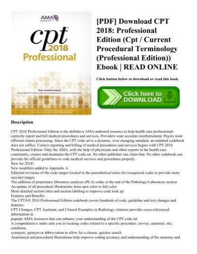 Pdf download cpt 2018 professional edition cpt current procedural pdf download cpt 2018 professional edition cpt current procedural terminology professional edition ebook read online fandeluxe Gallery