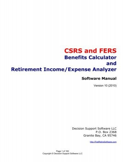csrs and fers benefits calculator and retirement income