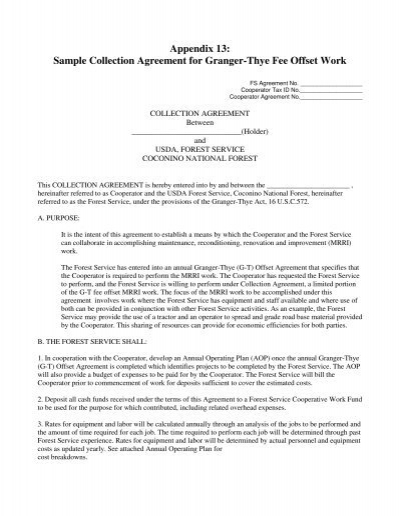 Appendix 13 Sample Collection Agreement For Granger Thye Fee