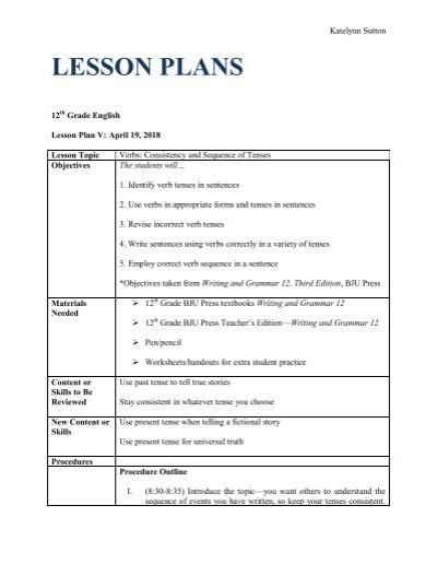 21 Consistency And Sequence Of Tenses - Lesson Plan PDF