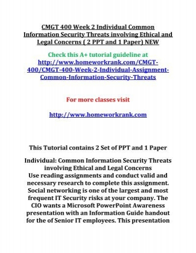 CMGT 400 Week 2 Individual Common Information Security