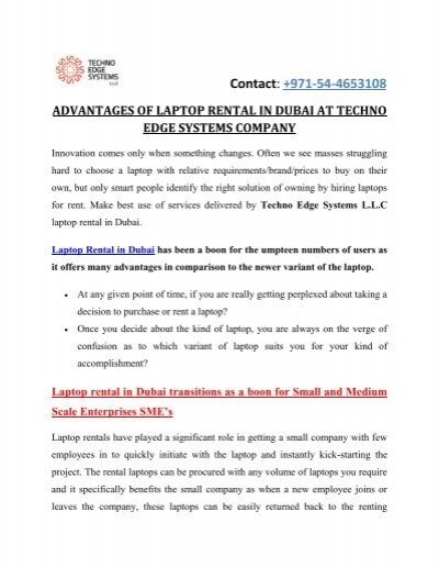 ADVANTAGES OF LAPTOP RENTAL IN DUBAI AT TECHNO EDGE SYSTEMS