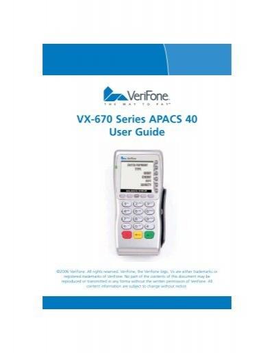 verifone vx670 manual rh yumpu com verifone vx670 user manual Vx670 Quick Reference Guide