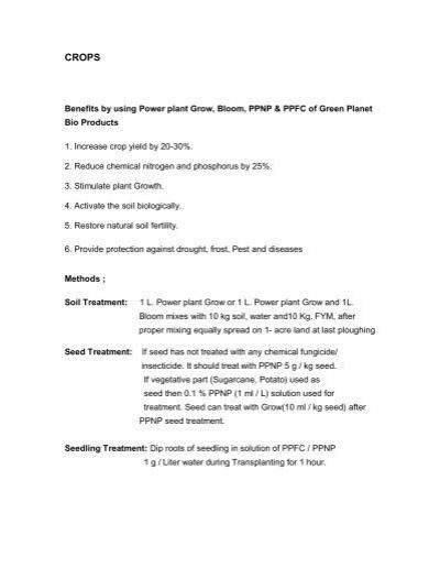 green planet bio products pdf