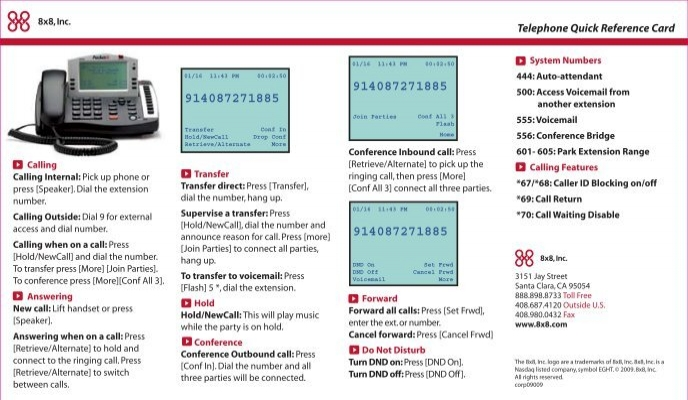 Telephone quick reference card 8x8 inc m4hsunfo
