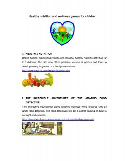 image regarding Printable Nutrition Quiz named Healthful vitamins and minerals and well being video games for small children - Food items