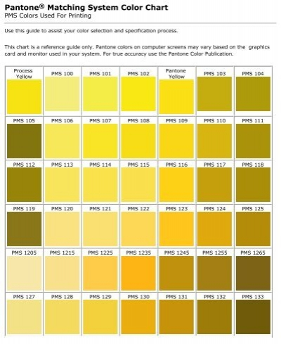 Pantone Matching System Color Chart   WCBS4Printing