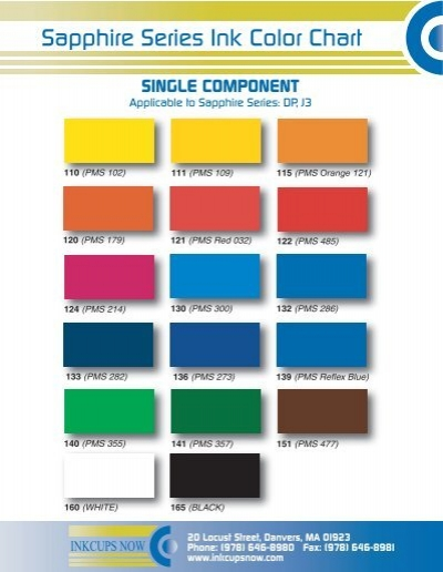 Sapphire Series Ink Color Chart - Inkcups Now