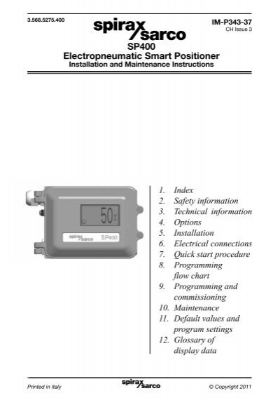 Sp400 electropneumatic smart positioner | manualzz. Com.